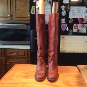 MK Brown Tall Leather High Heeled Knee High Boots